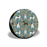 Yaxinduobao Cubierta de neumático Pitbull Pizza Perro Perros Divertidos Cubiertas de Rueda de neumático de Repuesto universales Protectores de neumáticos Impermeables portátiles 17 Pulgadas
