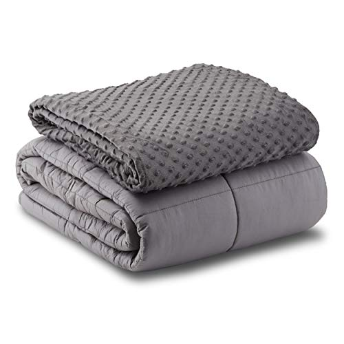 Leniio Weighted Blanket with Duvet Cover - (15 lbs, 60'x80', Queen-Size) - 400...
