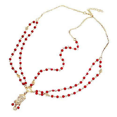 Bandeau Femme Avec Diamant Gland Rouge (2pcs)
