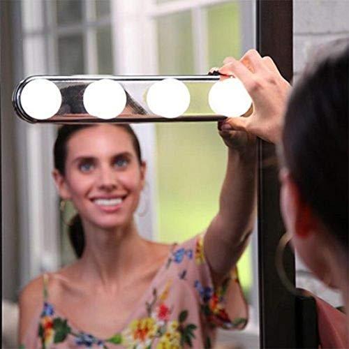 LILICEN Lámparas de Pared 4 Bombilla de Maquillaje Espejo Linterna de la luz instalada Conveniente Maquillaje Copa de succión de la lámpara LED Espejo con Pilas Regalo