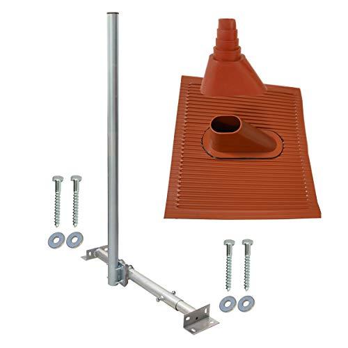 SkyRevolt Aufdachsparrenhalter SAT TV Dachsparrenhalter 120cm Kabeleinführung Mast 48mm Aufdach-Sparren-Halterung für Satellitenschüssel   Dachmontage-Set