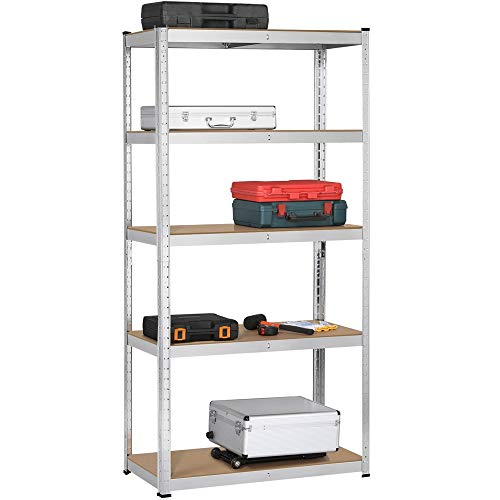 Topeakmart 5 Tier Storage Rack Heavy Duty Adjustable Garage Shelf Steel Shelving Unit,71in Height, 2 Bay Garage Shelf