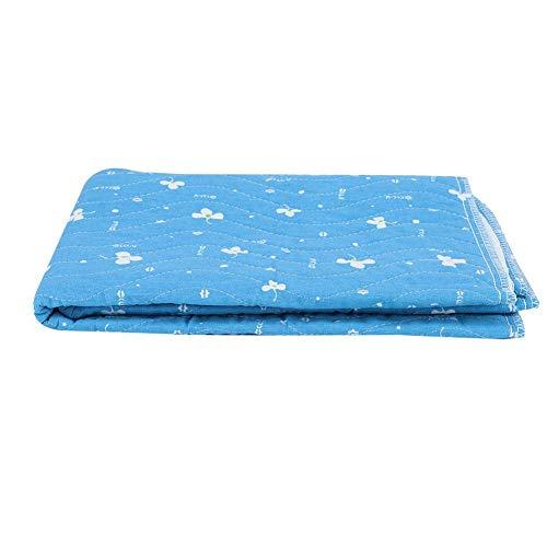 Herbruikbare onderpad, wasbaar waterdicht katoen incontinent pad voor kinderen volwassen baby beddengoed overmatig zweten, anti-slip snel geabsorbeerd bed beschermer Blauw