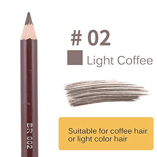 Xiton 1pc imperméable Crayon à Sourcils double face Crayon à sourcils avec la brosse Long Lasting Leopard Sourcils Pen maculage yeux Maquillage Comestic (2 brun clair)