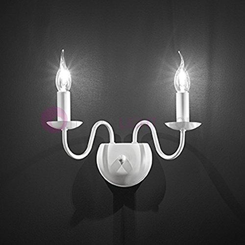 Flämische Wandleuchte 2-flammig weiß matt 2x E14Landhausstil klassisch rustikal Shabby-Chic