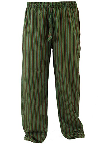 GURU-SHOP, Pantaloni Yoga, Pantaloni Goa, Verde, Cotone, Dimensione Indumenti:XL (48), Pantaloni da Uomo