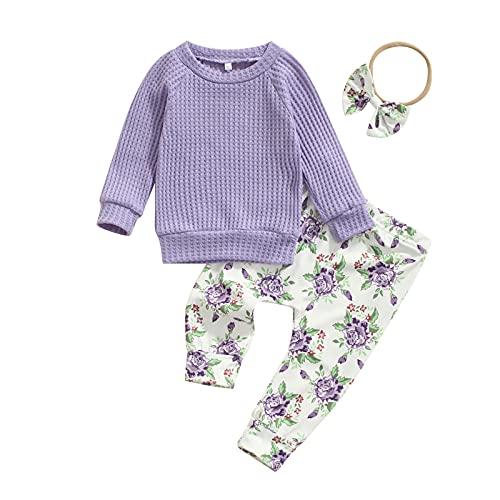 Conjunto de 3 piezas de ropa de bebé de manga larga de color sólido con cuello en O + pantalones con estampado floral + diadema con nudo de lazo, Morado (, 0- 6 meses