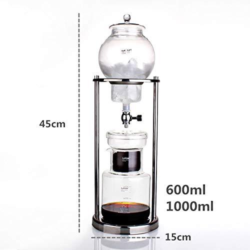 CHUIX Kalter Brew Kaffeemaschine, Niederländisch Art Kaffee Tee-Maschine kaltes Gebräu Kaffee Dripper 600ml - 1000ml für Home Reisebüro, Wiederverwendbare Glasfilter Werkzeuge,Silver 600ml