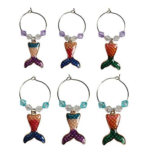 ABOOFAN 6pcs Ocean Style Metal Wine Glass Rings Mermaid Wine Glass Decorations