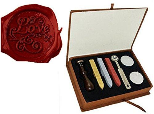 Vintage Woorden Liefde Gegraveerde Bruiloft Uitnodiging Wax Seal Stamp Sticks Smelting Lepel Gift Box Set