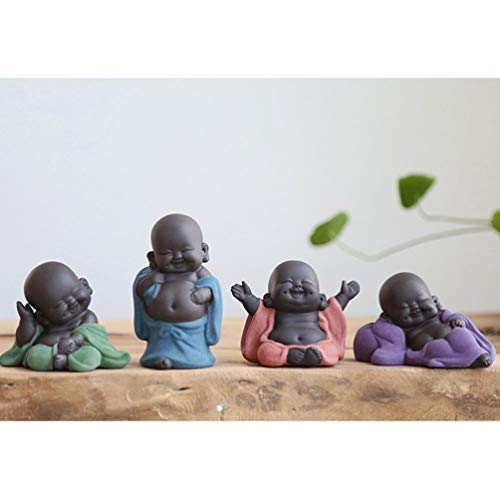 Exceart Mini Ceramic Buddha Statue Monk Tea Pet Miniature Buddha Figurine Chinese Style Table Decoration Ornament for Home Office (Purple)