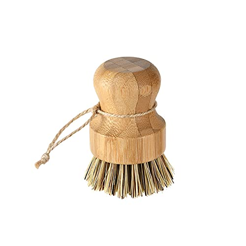 Futie Cepillo natural para fregar platos, fibras de sisal, fibras de coco con asas de bambú, cepillo de limpieza de cocina para verduras, platos, sartenes, ollas
