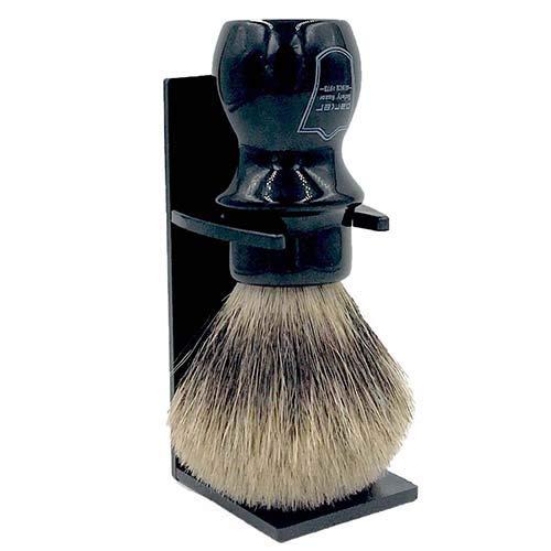 Parker Safety Razor Main de luxe Tasse Blaireau - 100% Pure Badger Brosse - Support fourni Noir
