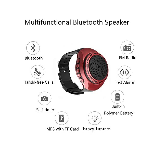 Wireless Bluetooth Watch Speaker Portable Wearable Mini Sport Stereo Subwoofer Speakers with Speakerphone, Multi Function MP3 Player & FM Radio&Anti-Lost&Ultra Long Standby Time for Any Smarter Phone 5