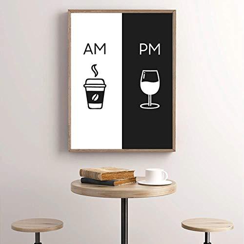 zszy Wijn afdrukken Keuken Poster Home Wand Kunst Decor Koffie & Wijn Kunst Canvas Schilderij Muurschildering Decoratie 50x70cmx1 stuks geen lijst
