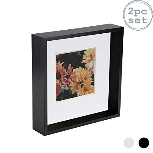 Nicola Spring 2 Piece 8 x 8 3D Shadow Deep Box Photo Frame Set - Craft Display Picture Frame with 4 x 4 Mount - Black