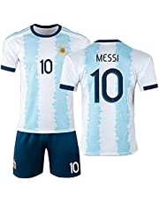 2021 Messi Argentinië Home Jersey Messi No. 10 Adult Children's Football Shirt, Quick-Drying and Adogend (Size: S-XXL, Kleur: Wit, Blauw)