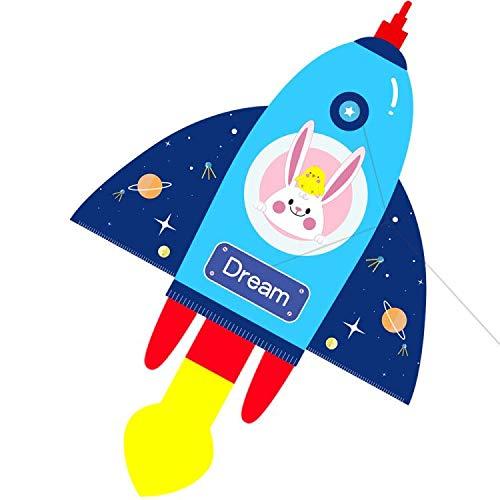 HENGDA KITE for Kids Lifelike Cartoon Rocket Kite Single Line Kite Flying for Children Kids Outdoor Toys Beach Park Playing