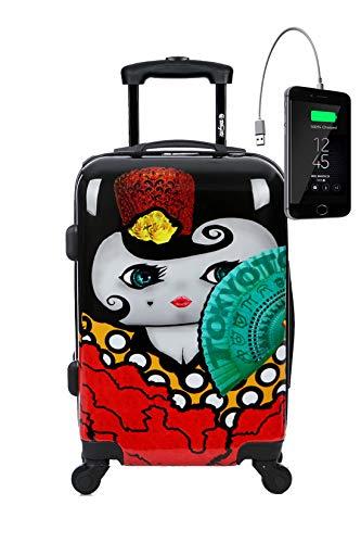 TOKYOTO – Valigia Rigida Flamenca, 55x40x20cm, Con Caricatore USB, 8000mAh | Trolley Giovanile Per Ragazze e Bambine, 4 Ruote 360º | Bagaglio A Mano Ryanair, Easyjet, Vueling