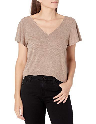 Paige Damen Haider Tee T-Shirt, Nude, goldfarben, Klein