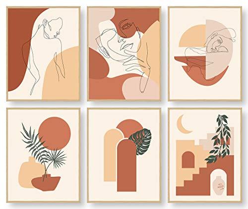 Abstract Wall Art, Minimalist Wall Art, Boho Wall Decor, Woman Line Art Botanical Plant Drawings Posters Prints, Wall Art for Bedroom, Kitchen Wall Art, Bathroom Decor, Office Wall Decor, (Set of 6, 8X10in, Unframed)