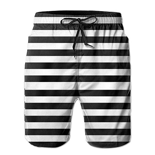 Bañador XL de Rayas de Secado rápido para Hombre en Blanco y Negro