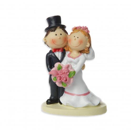 Brautpaar, 8 cm, Polystone, Braut mit rosa Blumen, Bräutigam mit Zylinder
