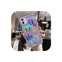iPhone 12 11 Pro Max XS Max XR 7 8Plusピンクパープルグリッターソフトクリアカバー用のかわいいレーザーカードバタフライ電話ケース-purple laser-for iphone 12promax
