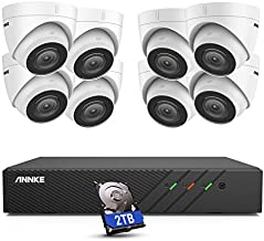 ANNKE H500 8CH Turret PoE Security Camera System w/ 6MP H.265+ NVR, 8X 5MP Outdoor IP Cameras and Audio Recording, 100ft EXIR Color Night Vision, IP67 Weatherproof, Remote Access, 2TB HDD