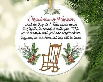 Tamengi Christmas In Heaven Chair Ornament - Memorial Ornament - Loss Of A Loved One - Bereavement - Memory Ornament - Poem - Custom Name Ornament
