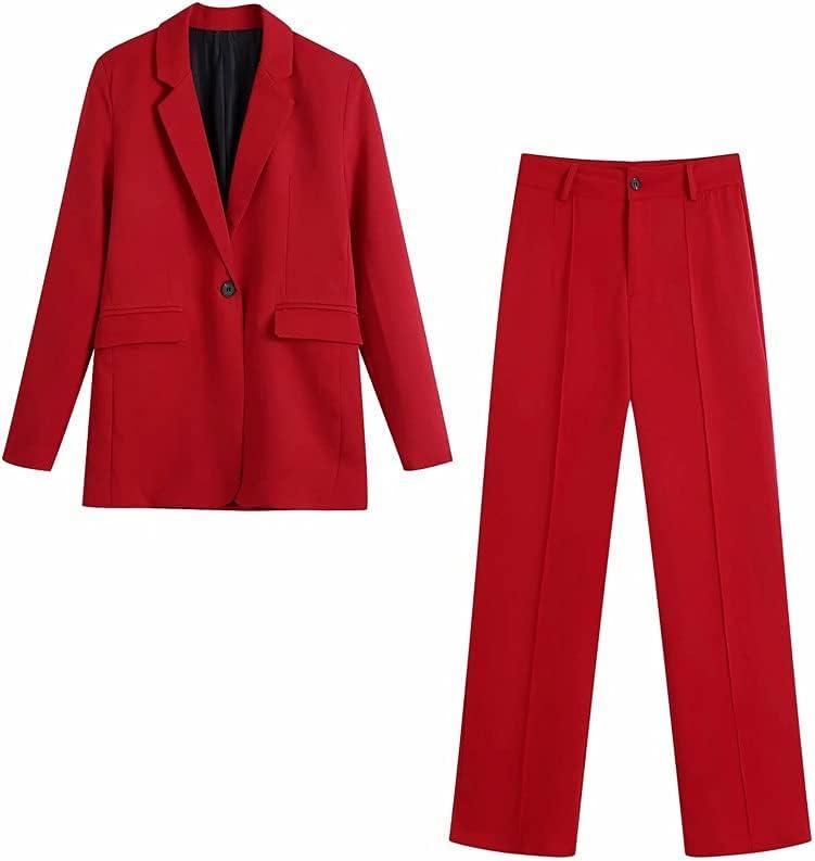 DIAOD Women Blazer Suits Long Sleeve Single Button Blazer Pants Set Office Ladies Two-Piece Blazer Sets (Color : A, Size : L Code)