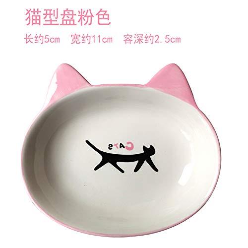 GENETIC Keramik-Katze Schüssel doppelte Schüssel Katze Futternapf Katze Schüssel Katze Wasserschüssel Reisschüssel Katze Futternapf Katze Schüssel Haustier Hundenapf Katze Typenschild rosa