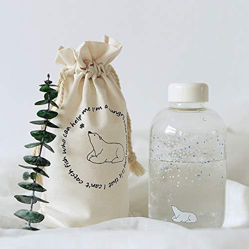 MYSdd Creative Sky Glass Botella de Agua con Manga 600ml gradiente Color Deportes Botella Moda Camping Botella Viaje drinkware - Sea Bear 600ml