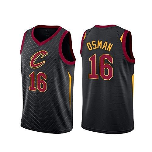 LDFN Herren Basketball Trikot Cedi Osman # 16 Cleveland Cavaliers Jersey Jersey Fan Sweatshirt Atmungsaktives Ärmelloses Fitness-T-Shirt (Color : Black, Size : M/36)