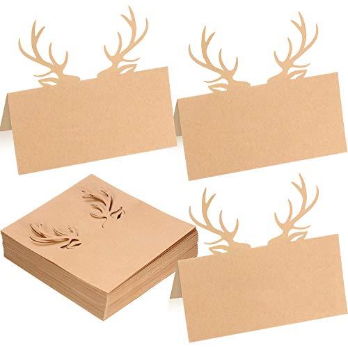 Outus Tarjeta de Nombre Lugar de Mesa Tarjeta de Papel Kraft de Asta de Navidad Diseño de Troquel de Reno para Fiesta de Invierno Navidad (50 Hojas)