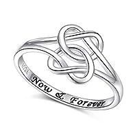 FLYOW 925スターリングシルバー ケルトノットリング ダブルラブハートノットリング 友情恋人 婚約指輪 レディース ガールフレンド