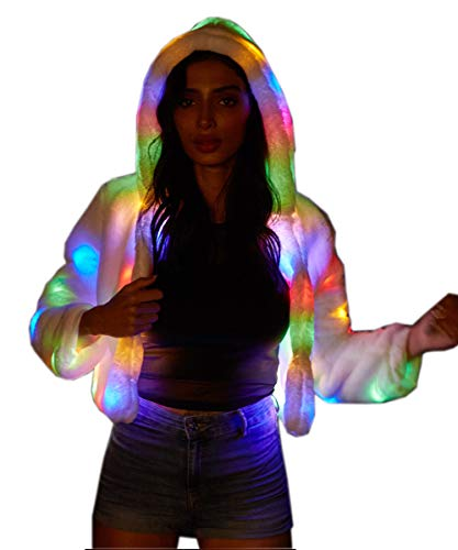 guochu Woman Girls Soft Faux Fur Jacket Light Up Long Sleeve LED Costume Hooded Coat (S) White (L)