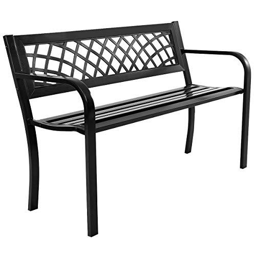 Giantex Patio Garden Bench Loveseats Park Yard Furniture Decor Cast Iron Frame Black (Black Steel W/PVC Mesh Pattern)