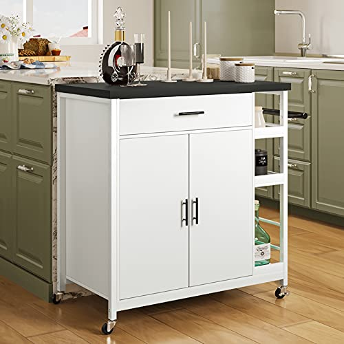 Hasuit Kitchen Island Cart with Storage, Rolling Kitchen Island with Cabinet, Kitchen Island on Wheels with Shelves and Handle, Black