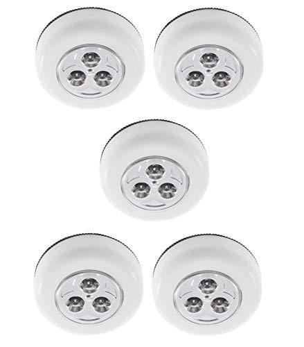 5 Lampadas Parede Teto Interiores Led De Toque Sem Fio COR BRANCA