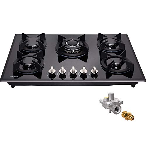 30' Gas Cooktop Dual Fuel 5 Sealed Burners Gas Hob Tempered Glass Drop-In Gas Stove DM517-SA01 Gas Hob