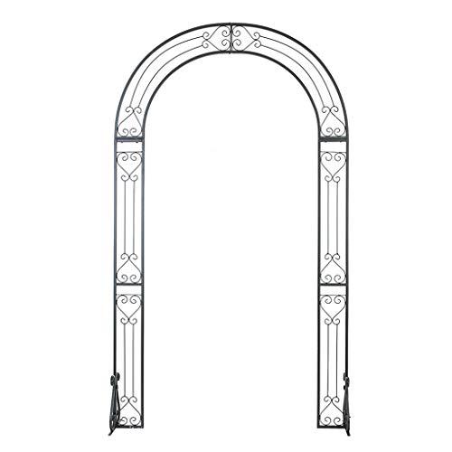 YICO Rose Arche avec Banc 240x137cm Arceau à Rosiers Pergola Support d'escalade pour Plantes, Noir Vintage