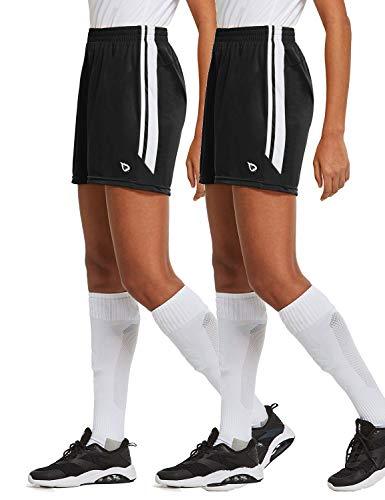 BALEAF Women's 5'' Basketball Soccer Lightweight Shorts 2-Pack UPF50+ Athletic Sports Training Loose-Fit with Drawstrings Black/Black M
