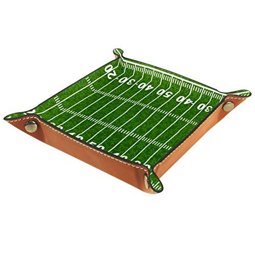 Ledertablett,Schmucktablett Dekoplatte,American Football Feld,Leder Tablett,Aufbewahrungstablett für Schmuck Schlüssel Armbanduhr Wohnzimmer Tisch Küche