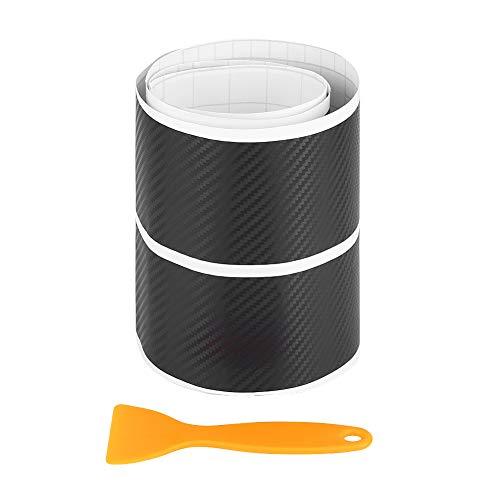 Suuonee Door Sill Sticker, 4Pcs Fibra de carbono Anti Scratch Car Door Sill Sticker Scuff Plate Cover Panel Step Protector