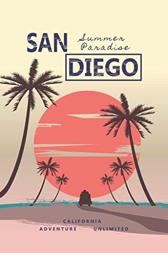 San Diego California Summer Paradise Retro Travel Cool Wall Decor Art Print Poster 24x36