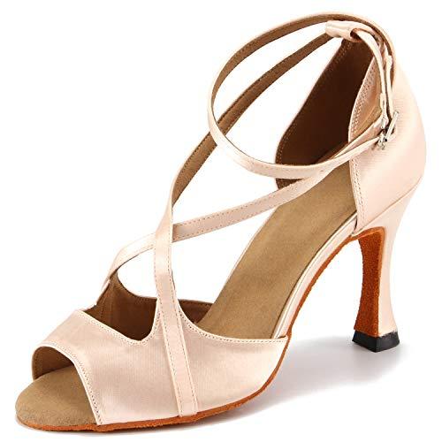 Pro Dancer - Zapatos de Baile para Mujer con Puntera Abierta, Beige (Color Piel (Nude)), 37.5 EU