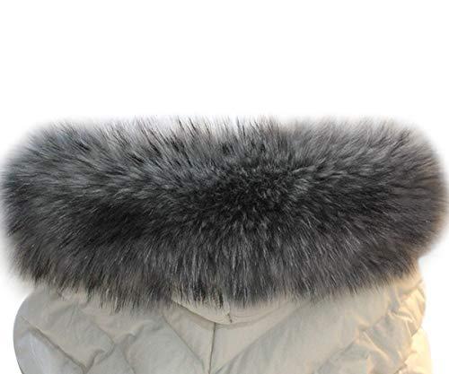 MAGIMODAC Damen Herren Pelzkragen Fellkragen Fellstreifen Kunstpelz Fell Pelz Kragen Streifen Pelzschal für Mantel Kapuze 70cm-90cm (Grau, 70cm/27.55'')