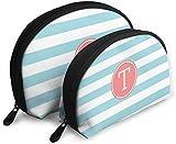 Ches Shell Tragbare Reißverschlusstasche 2 Taschen, geeignet für Frauen Kosmetik, Handtaschen/Handtaschen, Frauen Accories, Monogramm Buchstabe T mit modernen Streifen
