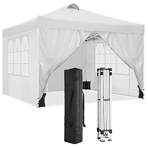 HOTEEL 3x3m Tenda da Giardino Impermeabile Gazebo Tendone Giardino Pieghevole con 4 Pareti Laterali e 4 Sacchetto di Peso (3x3M, Bianco)